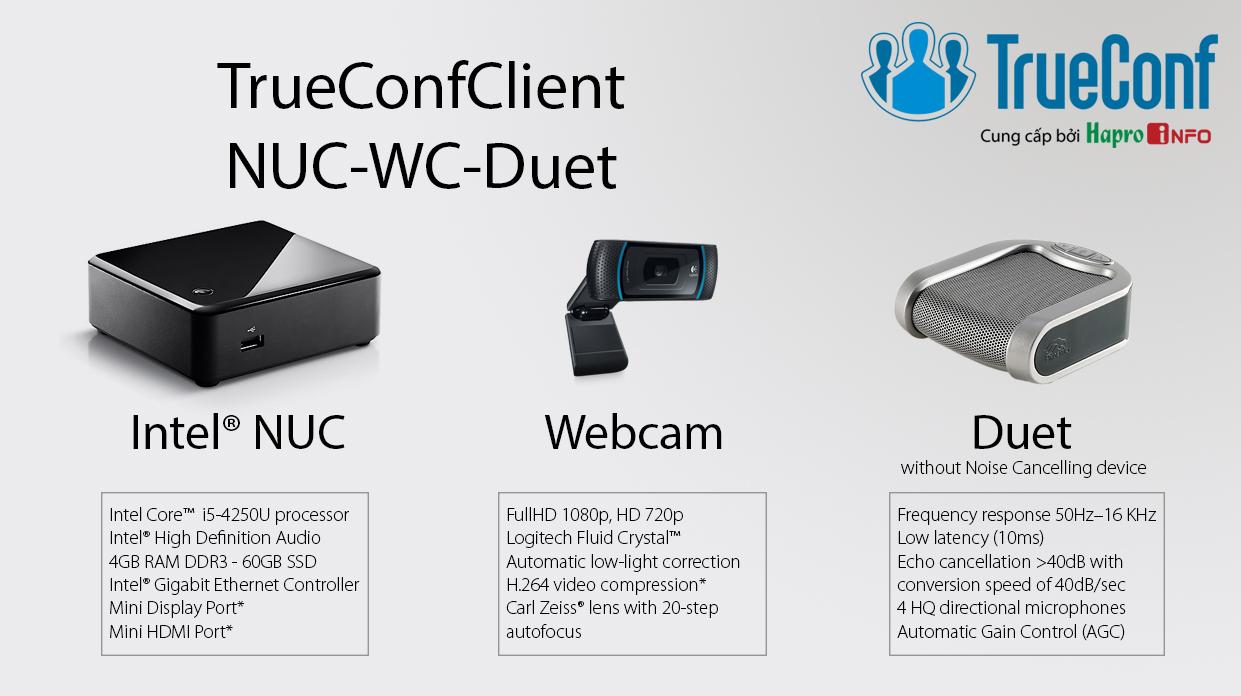 Bộ thiết bị giải mã hội nghị truyền hình cho phòng họp nhỏ (TrueConfClient-NUC-WC-Duet)