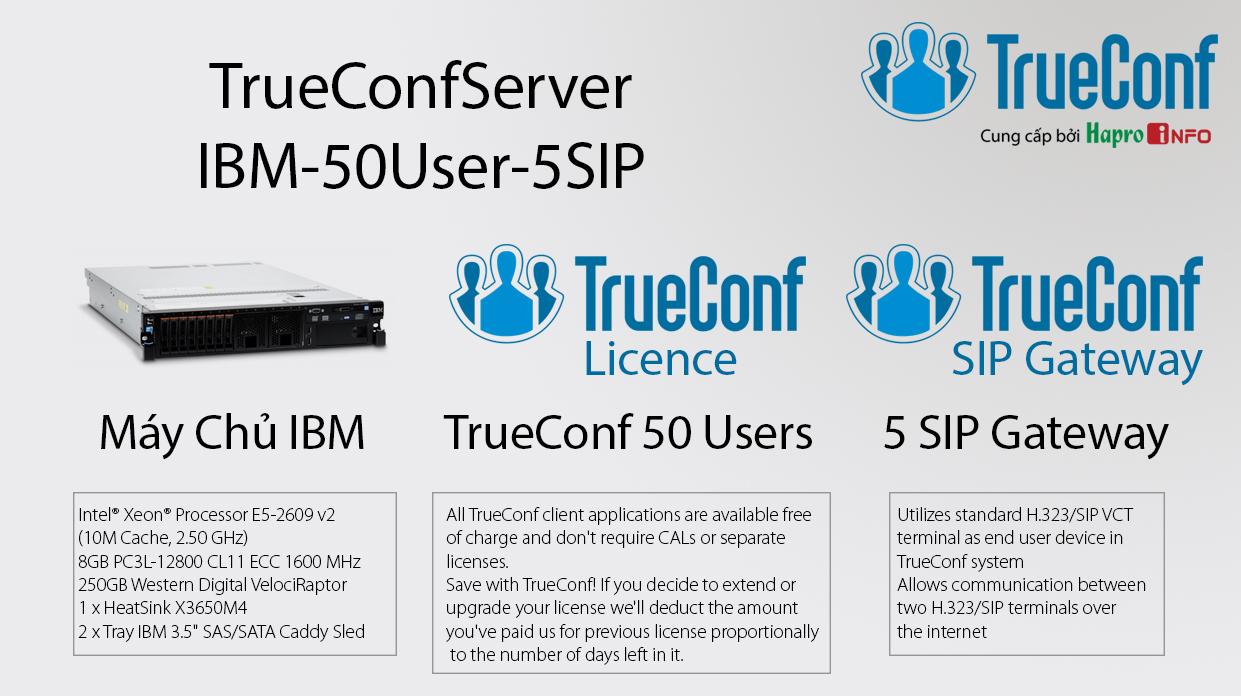 Bộ thiết bị xử lý trung tâm hội nghị truyền hình (TrueConfServer-IBM-50User-5SIP)